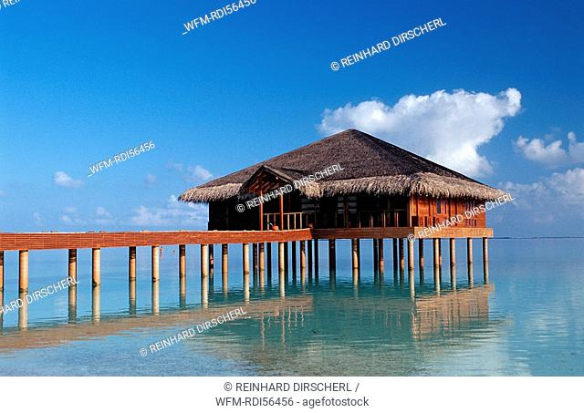 Waterbungalow on Maldivian Island, Indian Ocean, Medhufushi, Meemu Atoll, Maldives