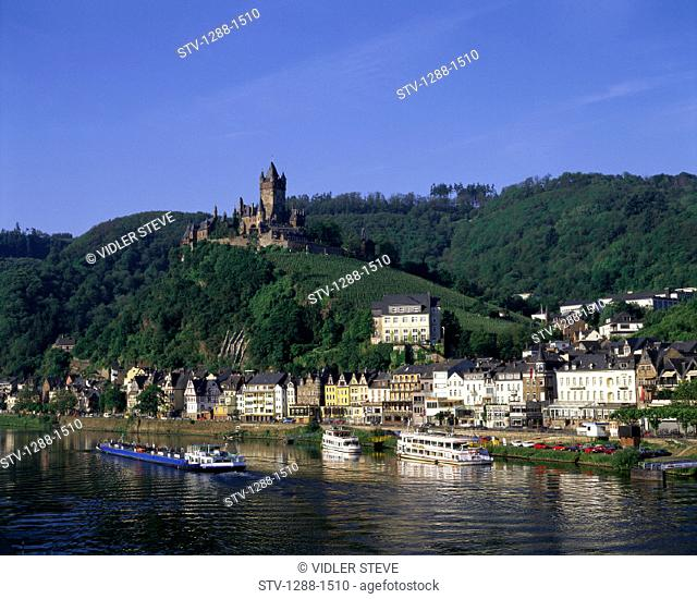 Boats, Castle, Cochem, Dock, Docked, Fortress, Germany, Europe, Hills, Holiday, Houses, Landmark, Moselle, River, Ships, Tourism