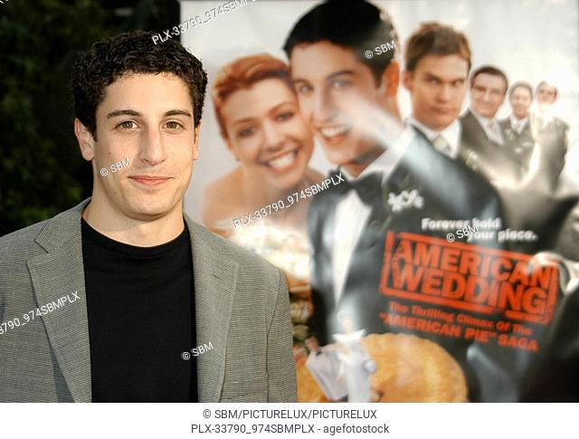 "Jason Biggs at the World Premiere of """"American Wedding"""", held at at the Universal Studios Cinema at Universal Studios, Hollywood, CA"