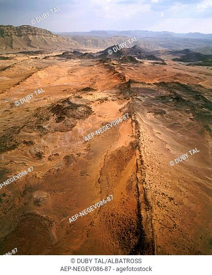 Aerial photograph of the colorful sand of the Ramon crater