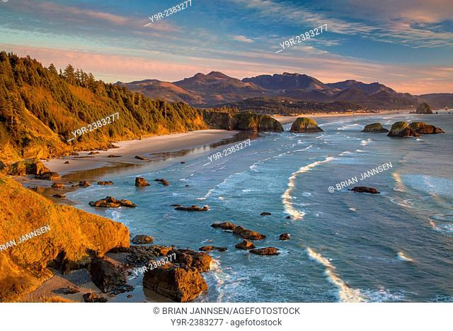 Sunset over the coastline near Cannon Beach, Oregon, USA