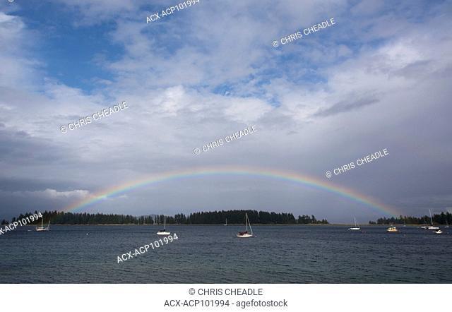 Rainbow at Heriot Bay, Rebecca Spit area, Quadra Island, British Columbia, Canada