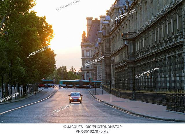 France, Paris, Quai Francois Mitterrand along the south wing of the Louvre Museum, evening