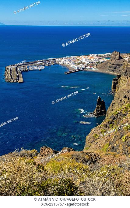 Bird's eye view of Agaete municipality. Gran Canaria island