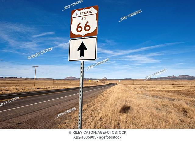 Route 66, Arizona - A road sign identifies a lonely section of the famous Route 66