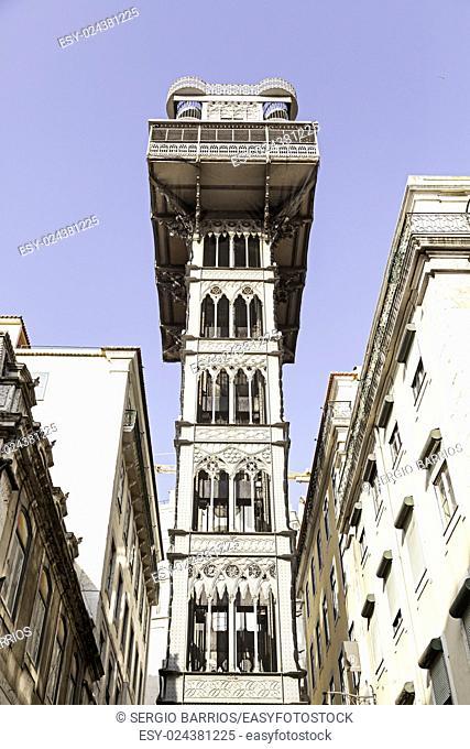 Santa Justa elevator in Lisbon, detail of an old historic elevator, tourist monument, Portugal