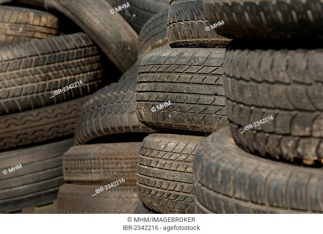 Old tyres in a landfill, Saxony, Germany, Europe