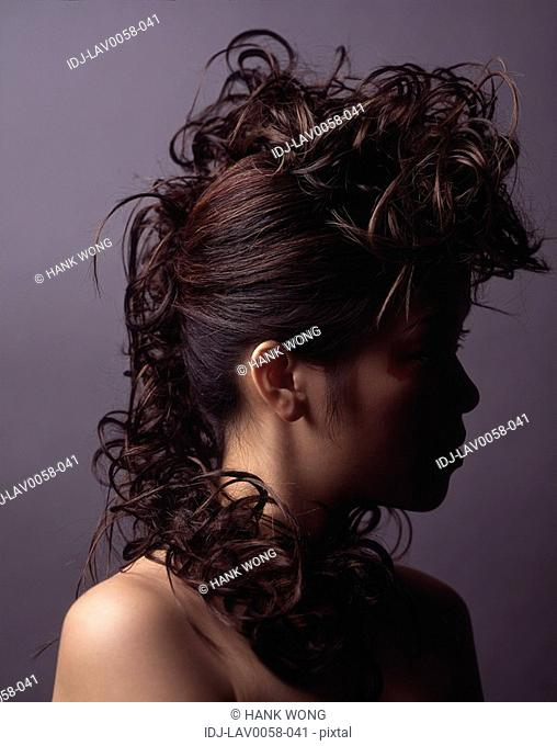 Close-up of a female fashion model's hair style