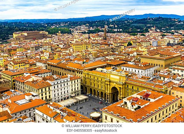 Orange Roofs Churches Arcone Triumphal Arch Archway Piazza della Republica Cityscape Wide Florence Italy