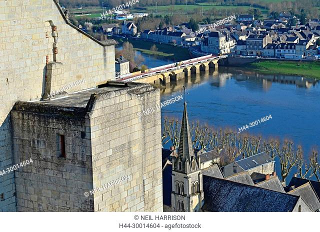 The defensive walls overlooking the medieval town of Chinon by the river Vienne in France