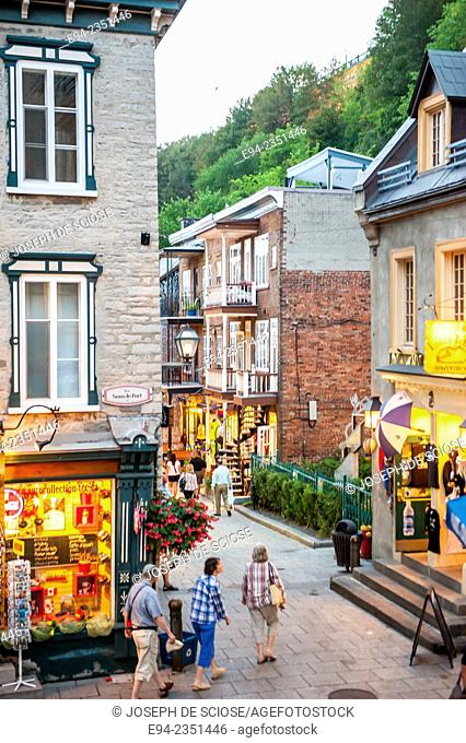 Twilight scene of the Rue du Petit Champlain. Quebec City, Canada