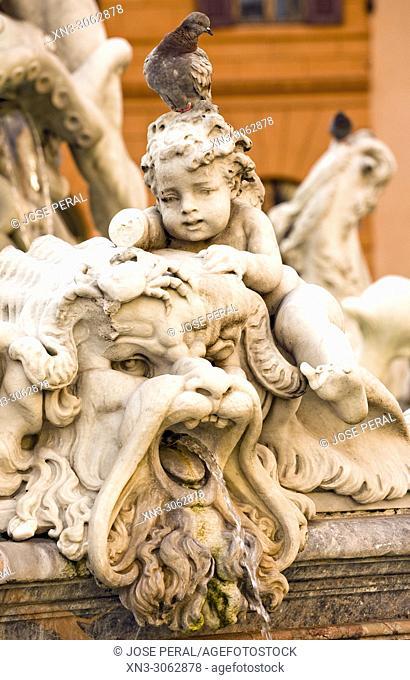 Detail with crab from Neptune fountain, Fontana del Nettuno, Piazza Navona, Rome, Lazio, Italy, Europe
