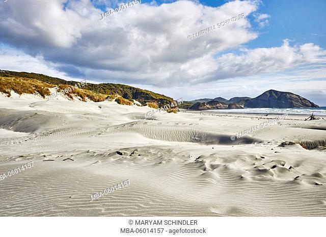 New Zealand, south island, Wharariki Beach, dunes and beach by the sea, sunny, cloudy sky