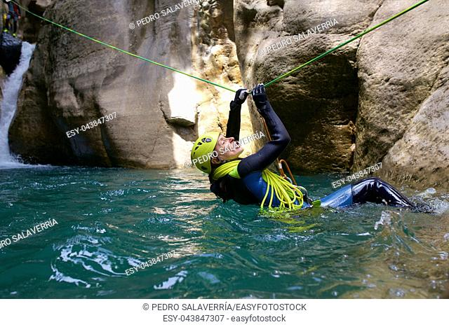Canyoning in Gorgol Canyon, Tena Valley, Pyrenees, Huesca Province, Aragon, Spain