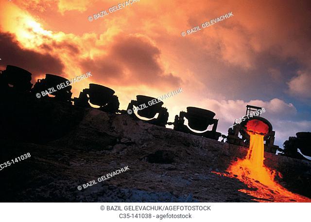 Slag throw down from the metallurgical plant. Krivoy Rog. Ukraine