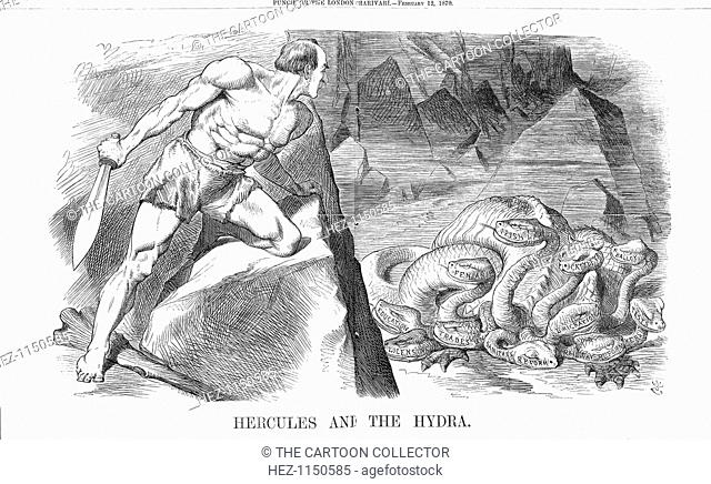'Hercules and The Hydra', 1870. This cartoon shows the Liberal Prime Minister, Mr Gladstone, dressed as Hercules. The hydra