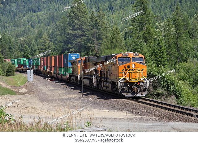 A BNSF stack train near Naples, north Idaho, USA