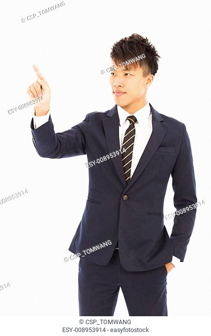 businessman hand and finger touching screen on white background