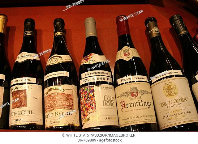 Bottles of red wine, Paul Bocuse market hall, Lyon, France