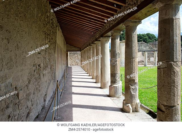 The Stabian Baths Palaestra in Pompeii, Italy, is probably dating back to the 5th century B. C