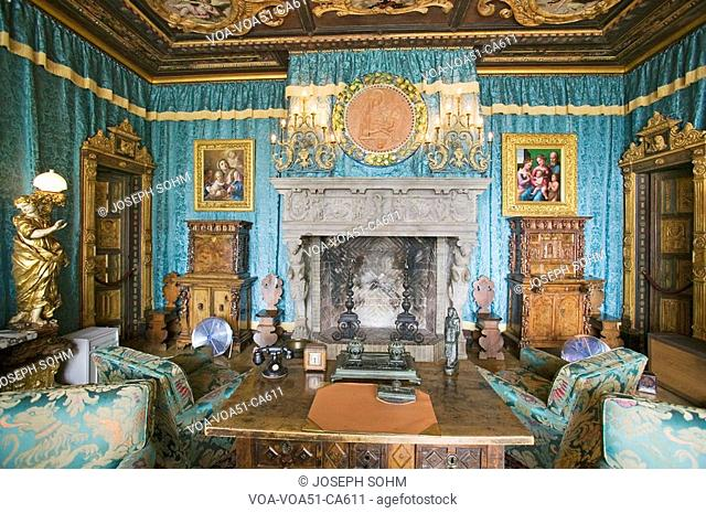 Interior of guest bedroom at Hearst Castle, America's Castle, San Simeon, Central California Coast