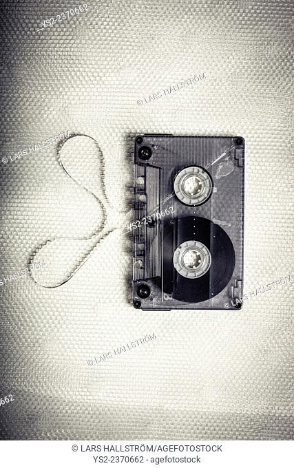 Top view of vintage transparent cassette tape