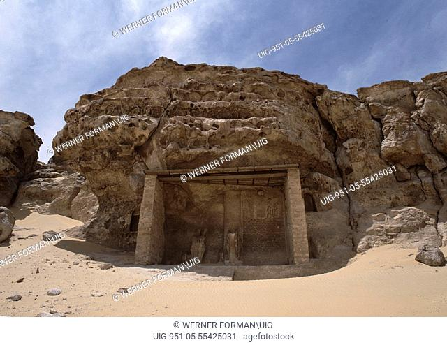 View of the site of the necropolis for Hermopolis Magna and of the boundary stele of Akhenaten