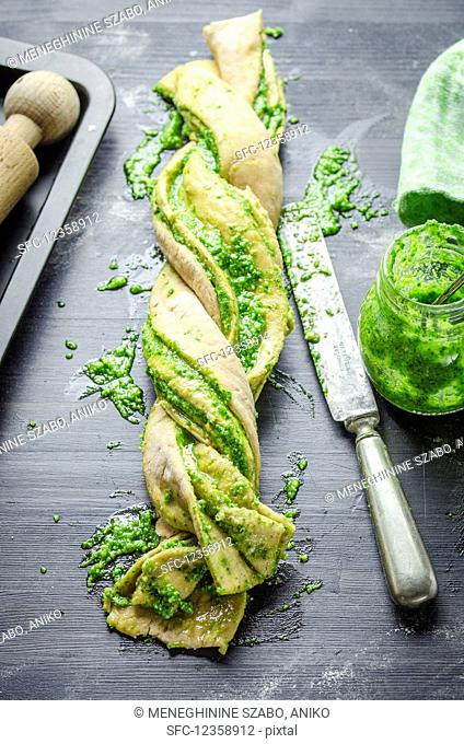 Plaited pesto bread (unbaked)