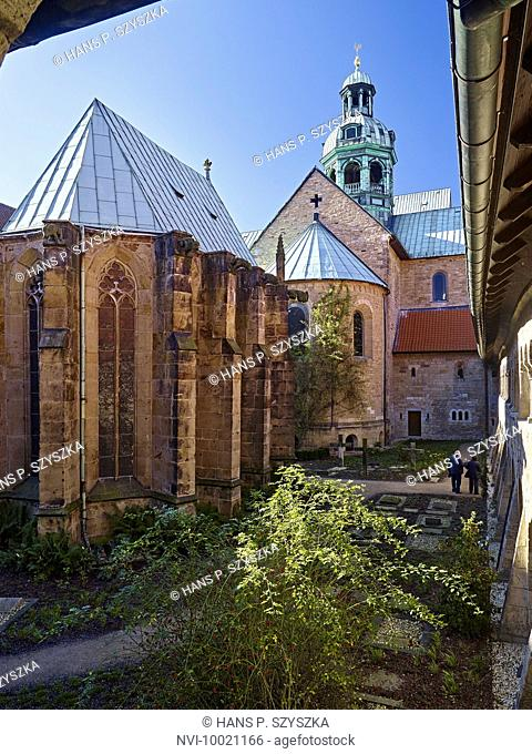 Courtyard of the cloister of St. Mary's Cathedral in Hildesheim, Lower Saxony, Germany