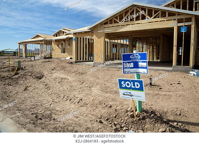 Marana, Arizona - Rapid construction of new home subdivisions in the northwest suburbs of Tucson. The desert land was formerly farmland