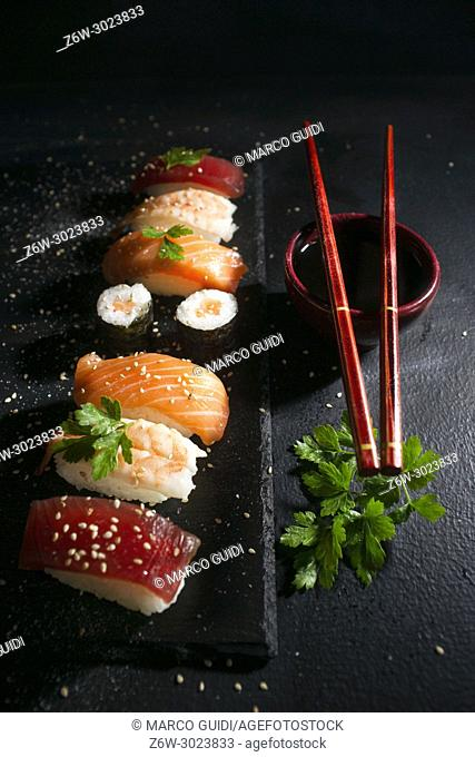 Presentation of a portion of a typical Japanese dish the Sushi