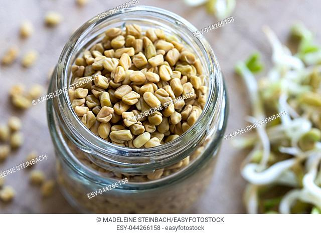 Dry fenugreek seeds in a glass jar, with dry and sprouted fenugreek in the background