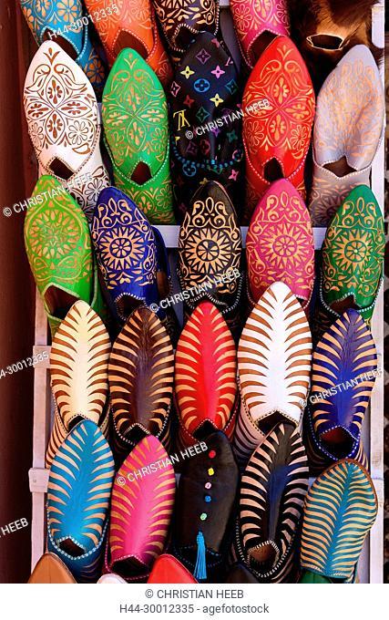 Morocco, Marrakesh, Medina, Souk, Babooshes, Africa, Maghreb