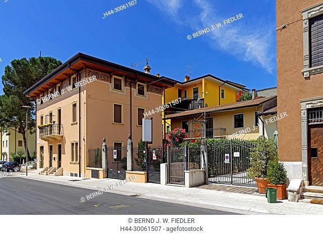 Europe, Italy, Veneto Veneto, Negrar, via Giuseppe Mazzini, town villa, street view, building, plants, architecture, place of interest, tourism, trees, vehicles