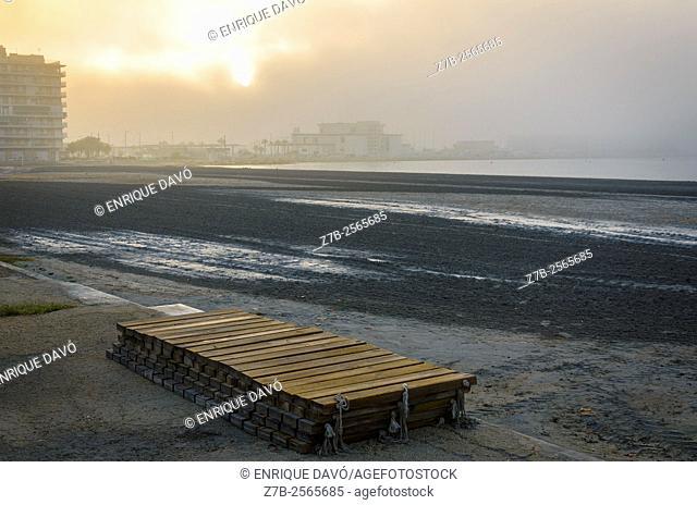 A wooden planks view in Santa Pola beach, Alicante, Spain