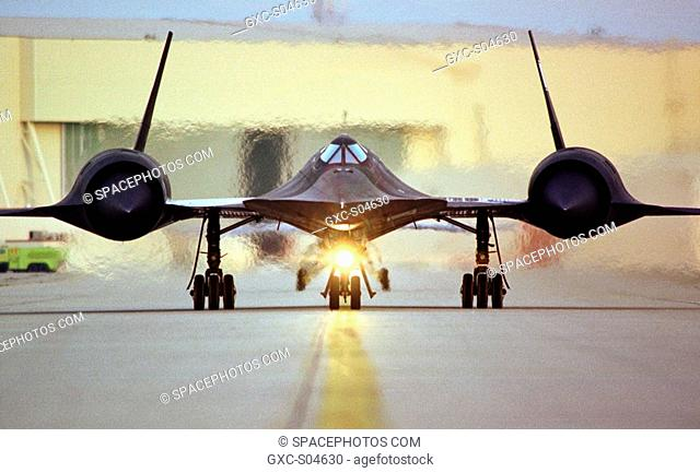 This photo shows a head-on shot of NASA's SR-71A aircraft taxiing on the ramp at NASA's Dryden Flight Research Center, Edwards, California