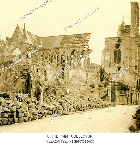 Soissons Cathedral, Soissons, northern France, c1914-c1918. Artist: Unknown