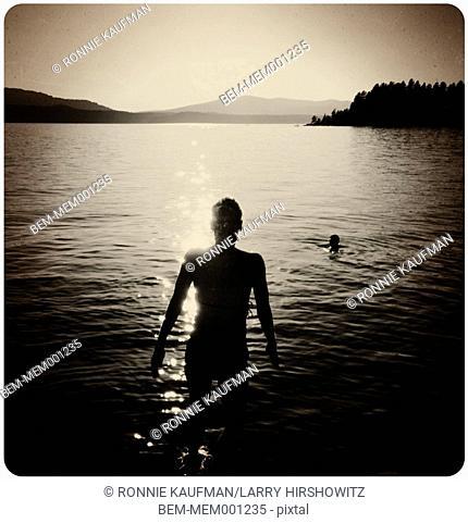 Caucasian woman in lake