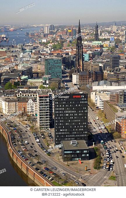 Arial view over the city center of Hamburg to the west. Building of Spiegel publishing company in the foreground, Hamburg, Germany