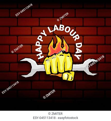 Happy labour day vector label with strong orange fist on red brick wall background. vector happy labor day background or banner with man hand