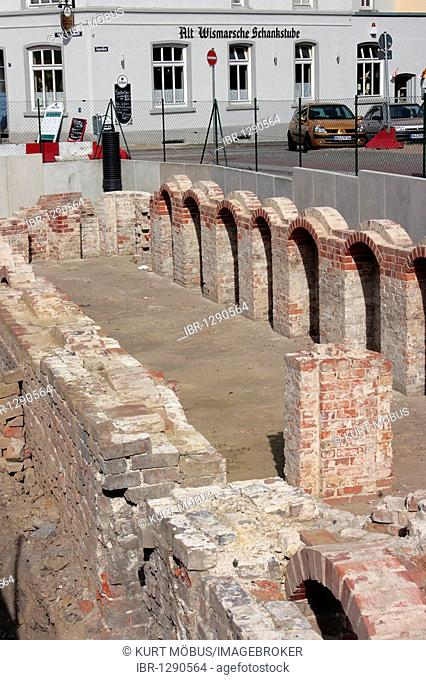 Archaeological excavation of an old brick building in the Hanseatic city of Wismar, UNESCO World Heritage Site, Mecklenburg-Western Pomerania, Germany, Europe