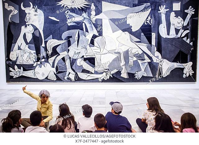 The 'Guernica' painting by Picasso, Reina Sofia National Art Museum, Madrid, Spain