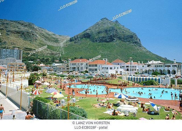 Crowded Resort Pool Scene  Muizenberg, Peninsula, Western Cape Province, South Africa