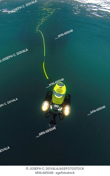 Remote operated vehicle begins dive Santa Barbara Channel,  CA, USA