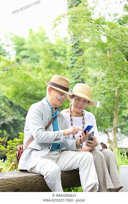 Senior couple looking at smart phone