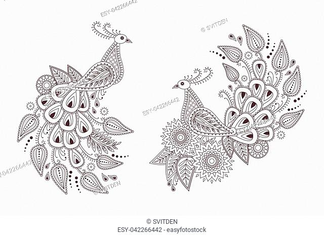 Set of beautiful peacock birds in indian paisley style. Unique hand drawn paisley peacocks, mehndi birds vector illustration on white background