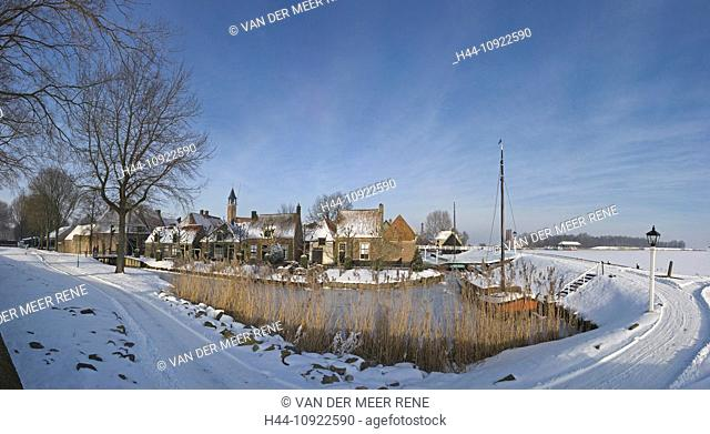 Netherlands, Holland, Europe, Enkhuizen, City, Village, Winter, Snow, Ice, Open air, museum, the Zuiderzee