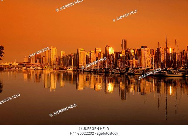 Skyline of Vancouver City at sunset , Canada, North America