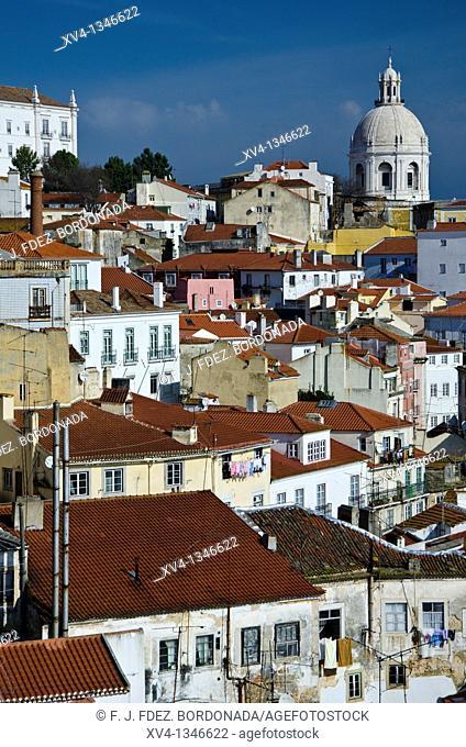 National Pantheon of Santa Engracia views form Miradouro de Santa Luzia, Alfama, Lisbon, Portugal