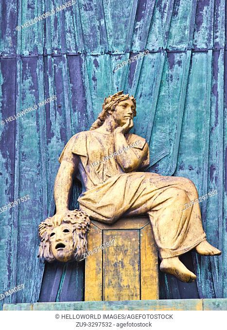 Façade relief bronze sculpture of the Muse of Comedy, Staerekassen, Royal Danish theatre, Copenhagen, Denmark, Scandinavia
